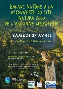Balade nature à la découverte du site N2000 de l'Argonne meusienne Samedi 27 avril