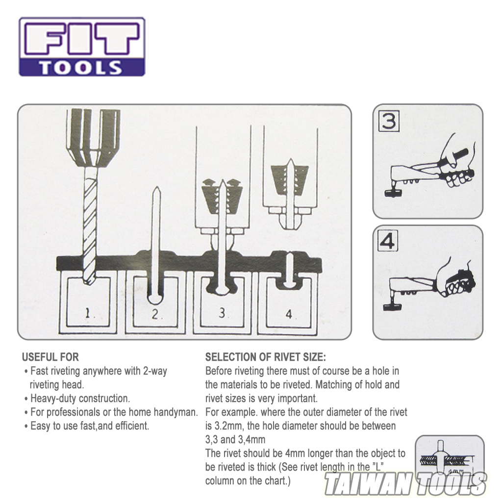 Fit Tools Hand 2 Way Horizontal Or Vertical Riveter With