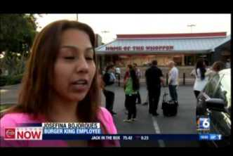 Fast-Food Workers Hold Sit-In At Local Burger King (XETV 12-8-14)