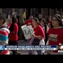 Fast-Food Strike Downtown San Diego (December 4, 2014) KGTV TV 5pm