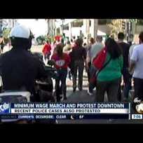 Fast-Food Strike Downtown San Diego (December 4, 2014) KGTV TV 7pm