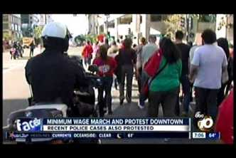 Fast-Food Strike Downtown San Diego (December 4, 2014) KGTV TV 7pm