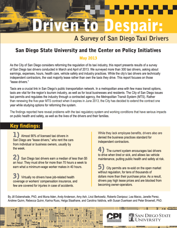 Driven to Despair: A Survey of San Diego Taxi Drivers (2013)