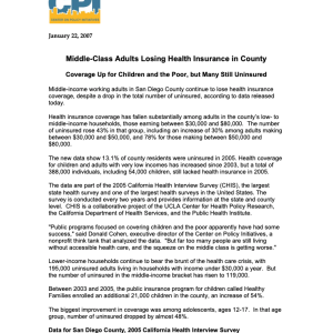 Middle-class Adults Losing Health Insurance in County (2007)