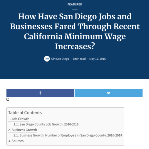 Web report: How Have San Diego Jobs and Businesses Fared Through Recent California Minimum Wage Increases? (2016)