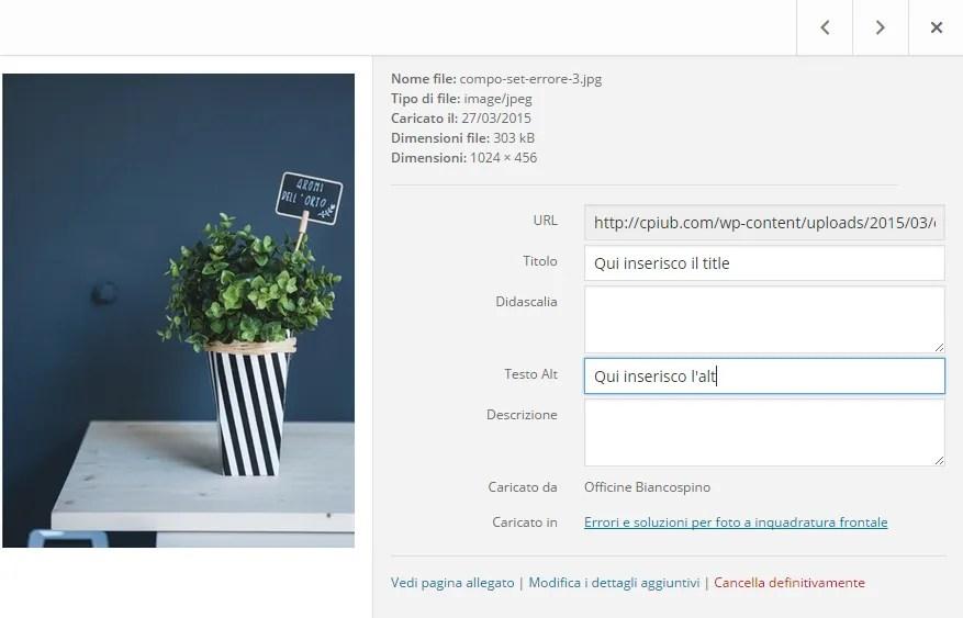 Come inserire alt e title in WordPress