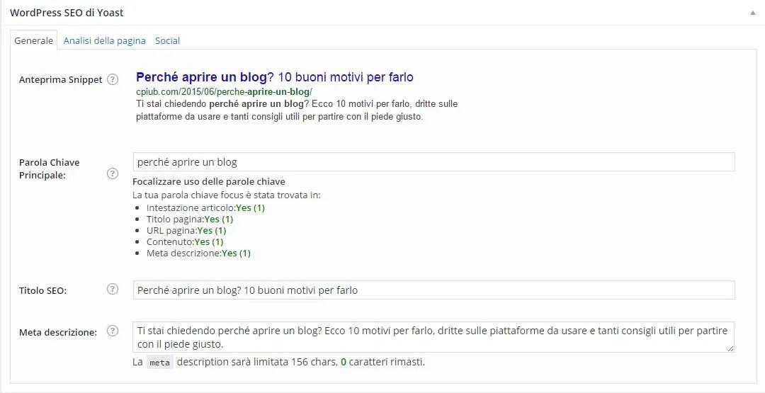 Come ottimizzare un post con WordPress SEO by Yoast