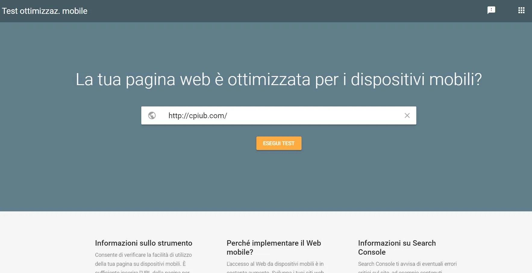 test sito mobile