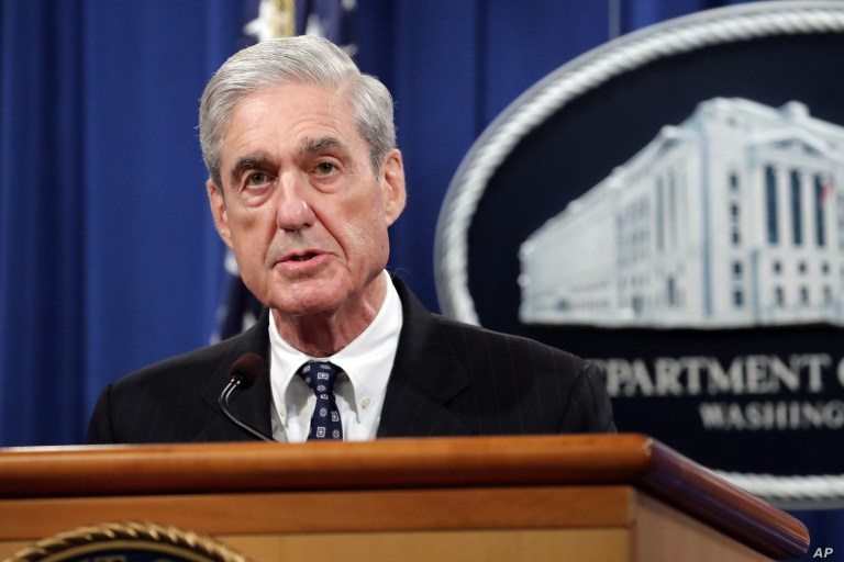 Special counsel Robert Mueller speaks at the Department of Justice Wednesday, May 29, 2019, in Washington.