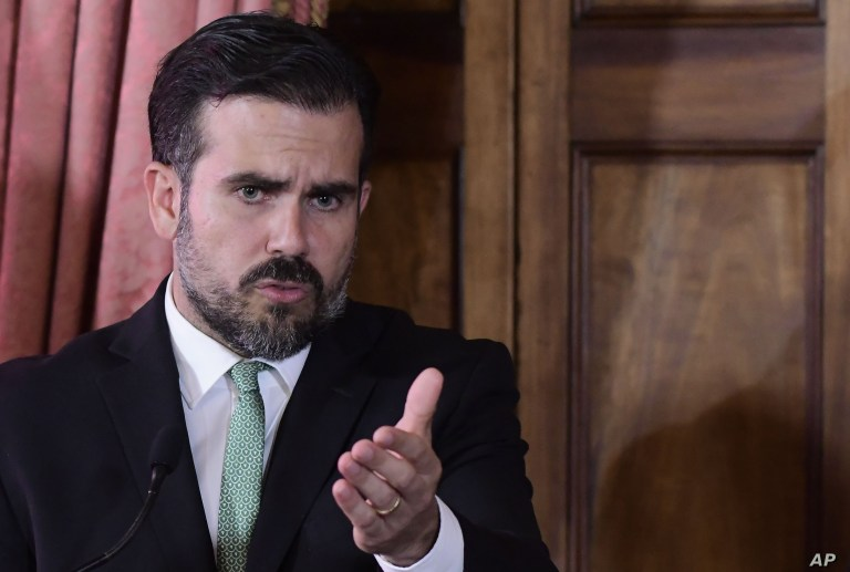 Puerto Rico Governor Ricardo Rossello speaks during a press conference in La Fortaleza's Tea Room, in San Juan, July 16, 2019.