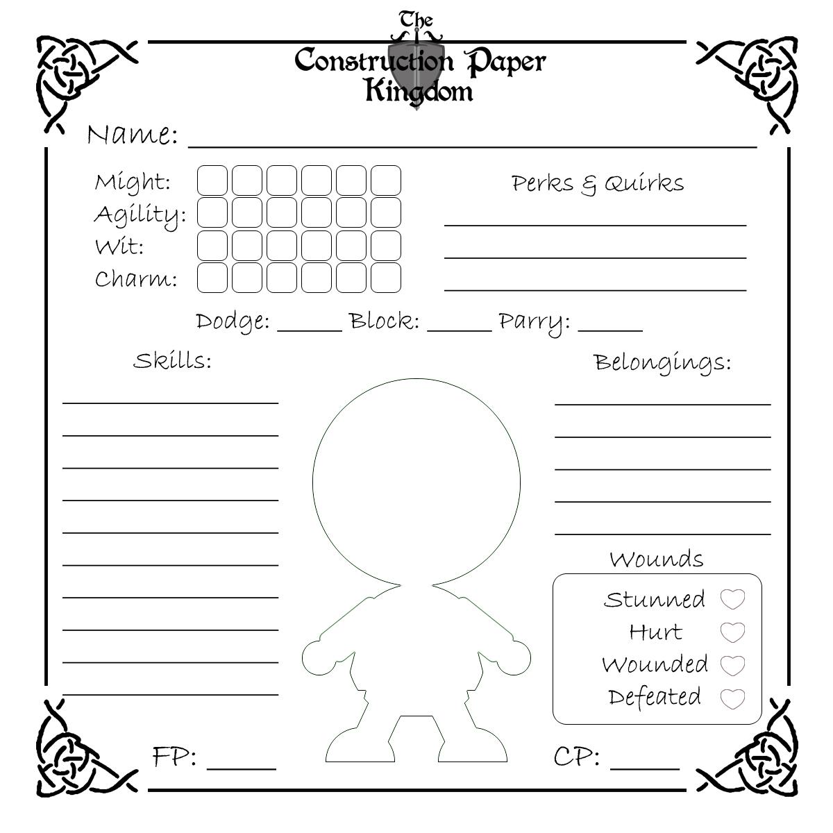 Create Rpg Character Worksheet
