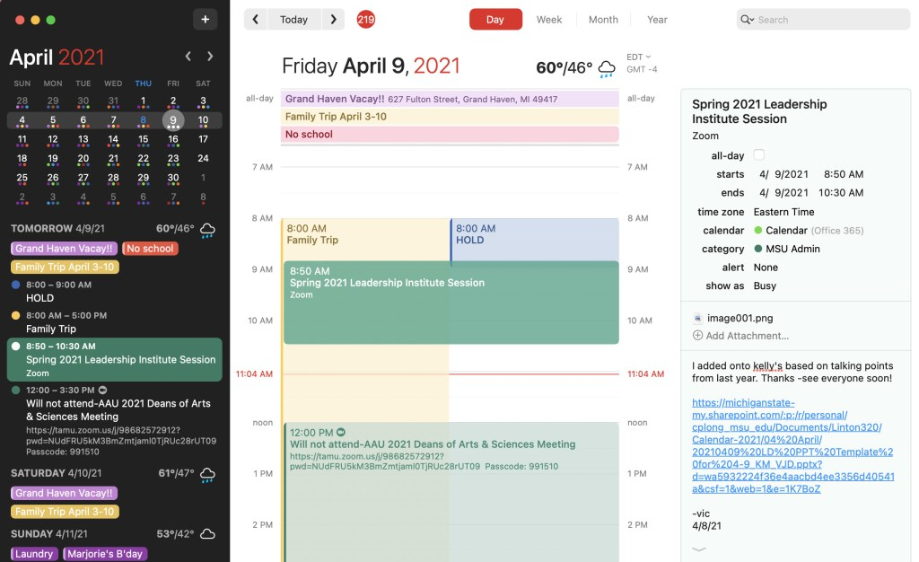 Screenshot of my Fantastical calendar for April 9, 2021, with the event of the AAN workshop selected and a link to the working document for the event.