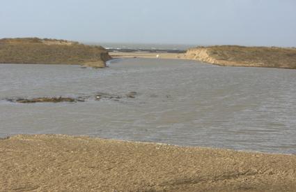 Une brèche s'est ouverte dans la dune de la grande plage de La Faute sur mer  lors de la tempête Xynthia. Photo Jean BOUILLON