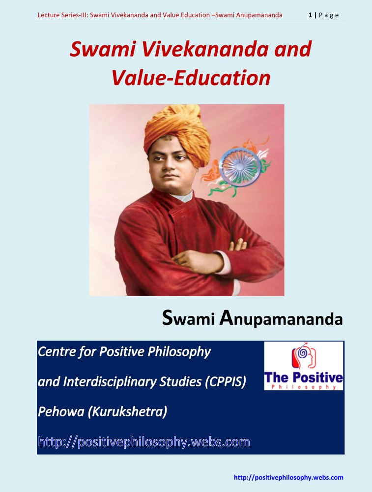 Lecture-III: Swami Vivekananda and Value Education: Swami Anupamananda