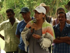 """Jhenifer Mojica, INCODER's Deputy Director of Rural Land, shares a few words of congratulations, """"Your unity has been exemplary to all of us"""" she said, """"Garzal is an emblematic case, one of the sixteen hand picked by President Santos that would receive immediate attention."""""""