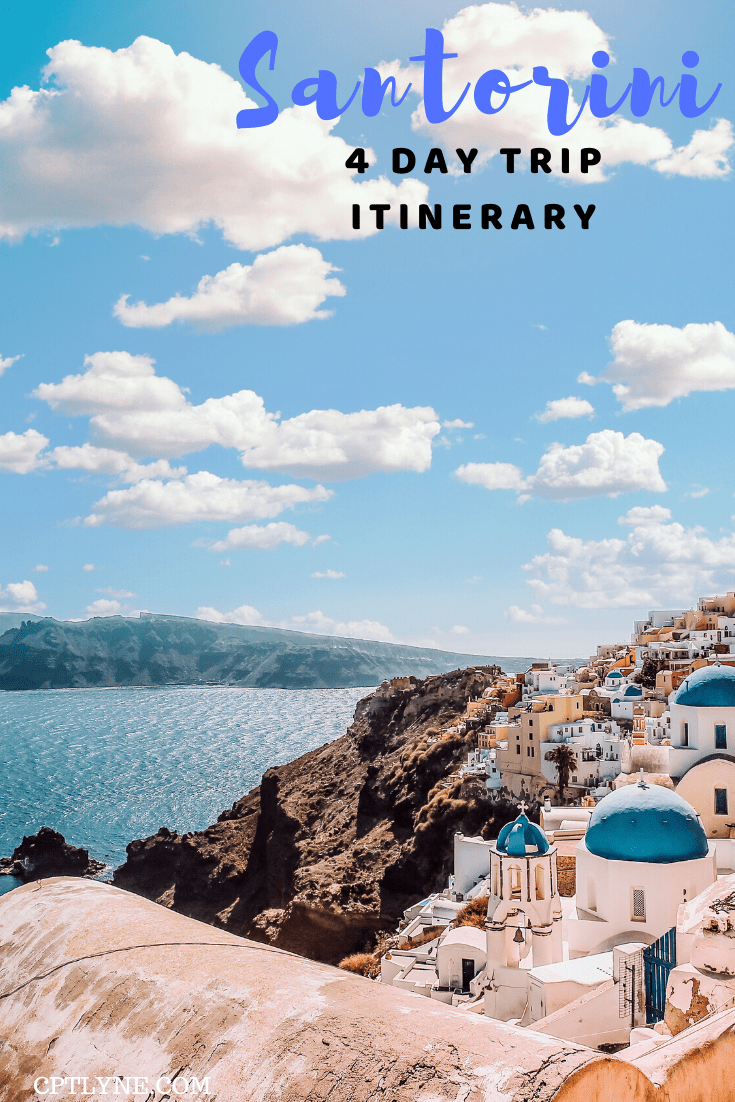 A 4 day trip Santorini travel itinerary to discover all the amazing thing to do on this quaint island. Explore the narrow alleys and quaint street, walk on a black sand beach and watch some of the most amazing sunsets in Oia! #greece #travelguide #europedestinations #santorini