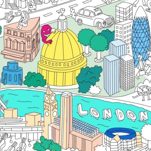 Poster géant à colorier Londres