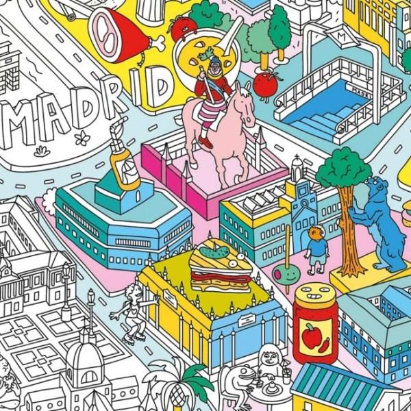 Poster géant à colorier Madrid