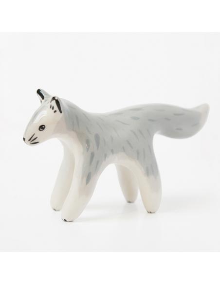 Loup gris en faïence
