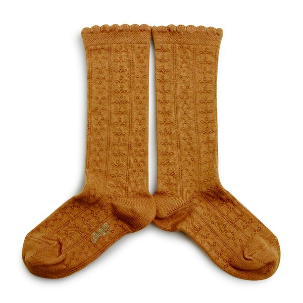 Chaussettes hautes en coton bio et maille ajourée – Moutarde de Dijon