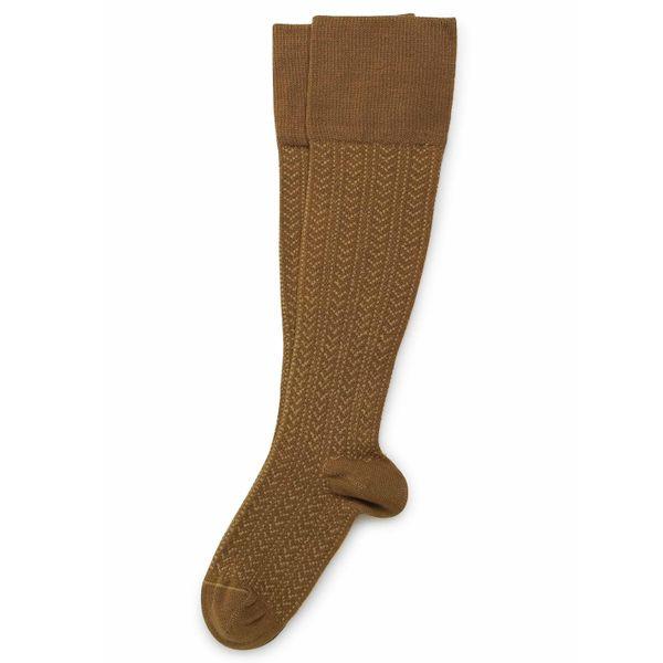 Chaussettes hautes énergisantes Lévity en maille ajourée et fil d'Ecosse – Moutarde