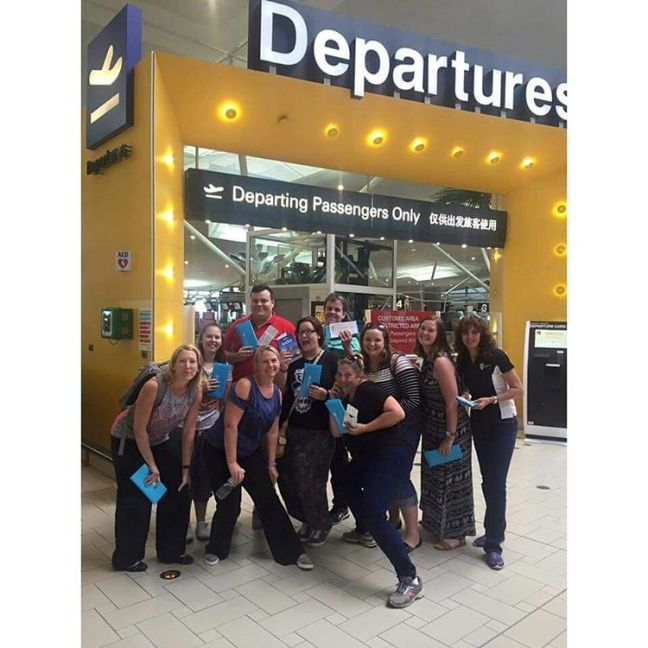 CQUniversity Bachelor of Education students going to India at the Brisbane airport