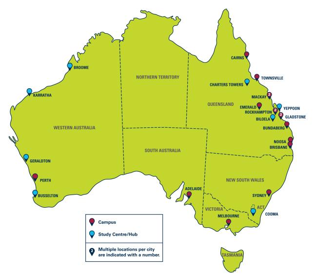 CQUniversity Australia locations