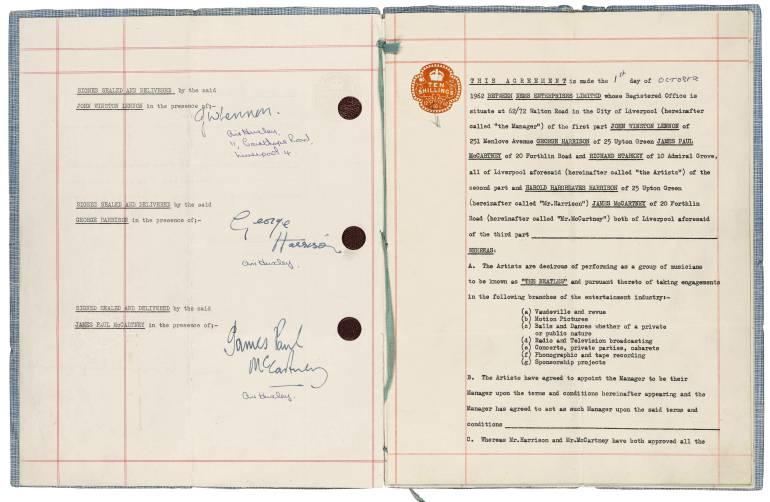 El contrato vendido en la subasta en Londres.