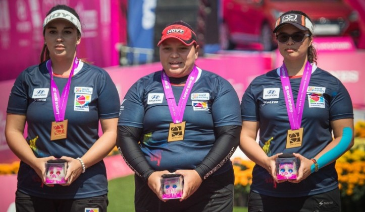 Equipo femenino Colombia Campeón Mundial México: Equipo femenino de arco compuesto de Colombia, campeón mundial en México