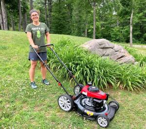 Katie and her new lawn mower