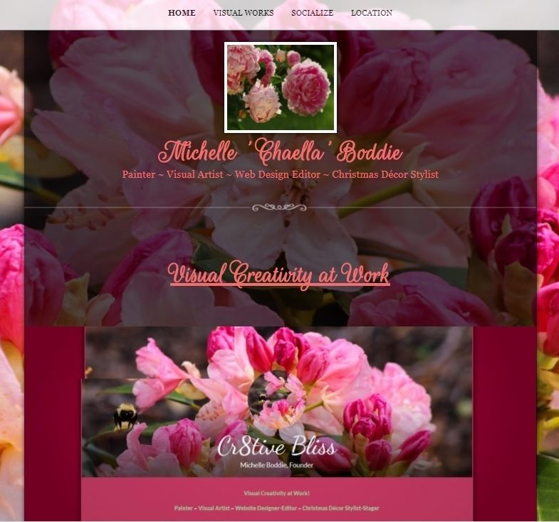 Visual Works by Michelle Boddie: Visual Art on Canvas, Website Design & Christmas Decor Staging