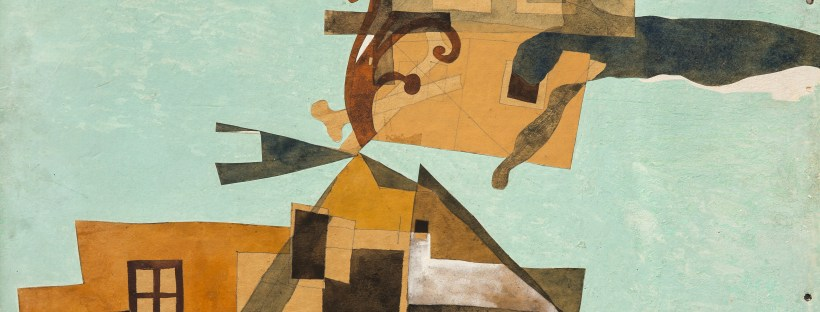 Szentendre Houses with Crucifix - tempera montage by Lajos Vajda, 1937