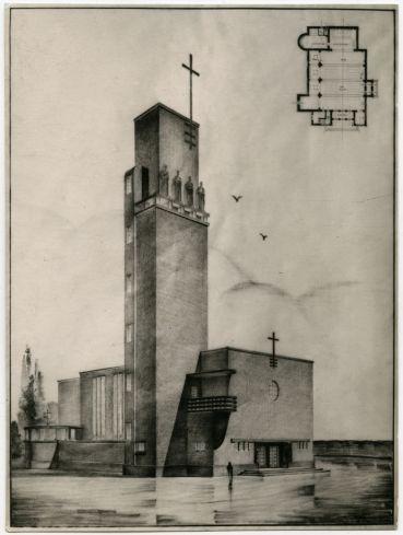 Gyula Rimanóczy: Design for a Church of the Four Evangelists, 1930