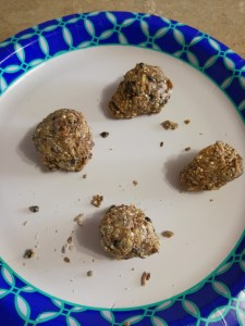 Form into balls. If it's a bit dry add a couple drops of water until it is just moist enough to hold it's shape.