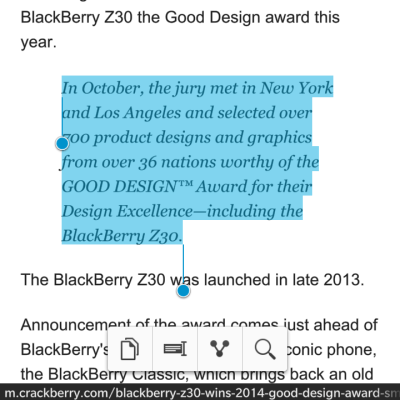 BlackBerry Classic Text Selection