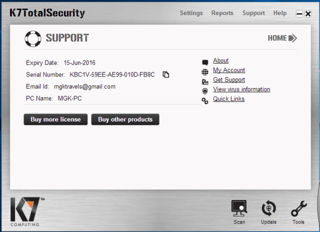 K7 Total Security Registration Key