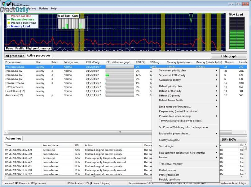Process Lasso Pro Screenshot