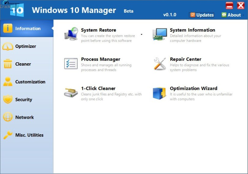 Yamicsoft Windows 10 Manager Screenshot