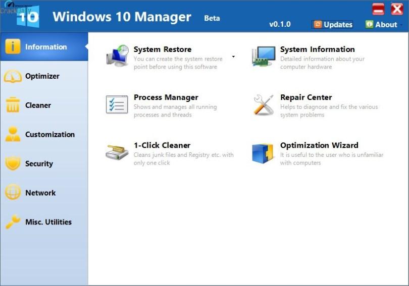 Yamicsoft Windows 10 Manager Screenshot