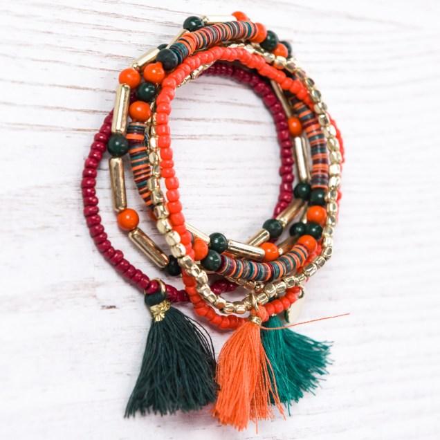 Bead and Fringe Stacked Bracelets