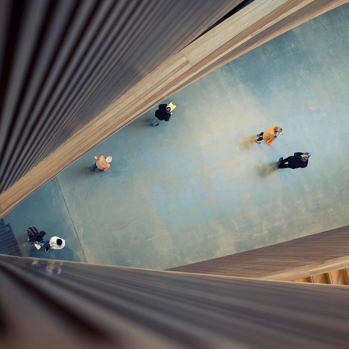 birds eye view of people in foyer