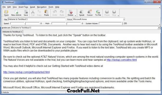 NextUp TextAloud 4.0.21 Crack