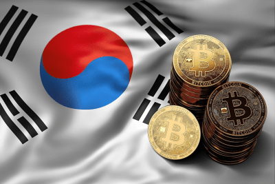 korean flag with bitcoins stacked on top