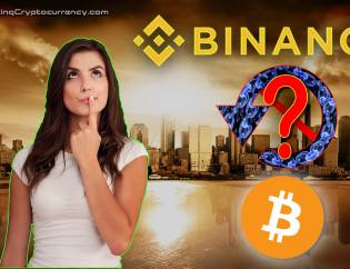 Armageddon-background-of-citscape-with-woman-in-foreground-question-face-binance-logo-above-rewind-symbol-with-chains-inside-symbol-and-question-mark-in-middle-bitcoin-logo-below