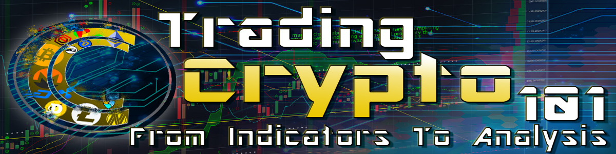 trading crypto 101 banner with the words over a chart background