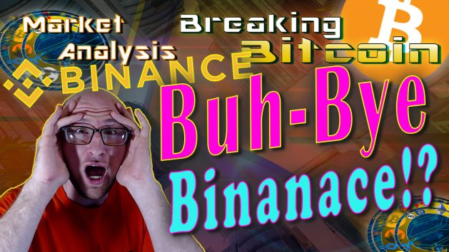 text buh-bye binance next to justin shocked hands on face with bearish red background graphic and binance and bitcoin logo