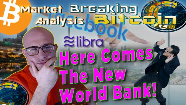 text here comes the new world bank next to justin's hand on chin very questioning and thinking face with graphic background of big hand poiting/poking a scared person pulling back in fright with bitcoin and facebook logo