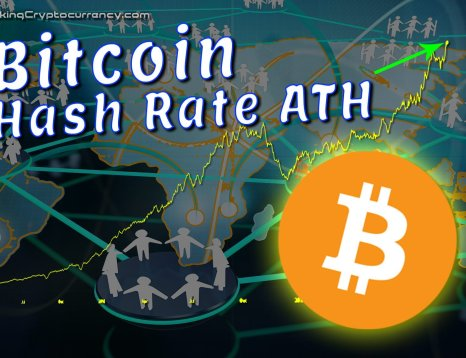 text bitcoin hash rate ath over graphic background of world map with overlay of network illustration of circle hubs connected with lines and stick people on each hub representing nodes and people running miners to mine bitcoin with big bitcoin logo under the line chart graph of hash rate