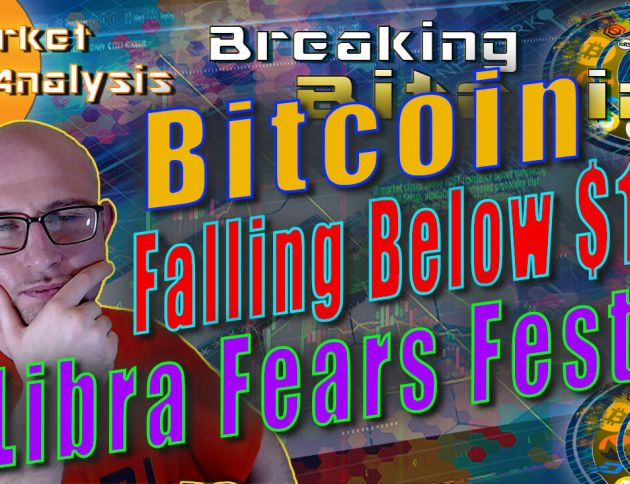 text bitcoin falling below $10k libra fears fester next to justin's hand on chin thinking skeptically face with graphic background and bitcoin logo