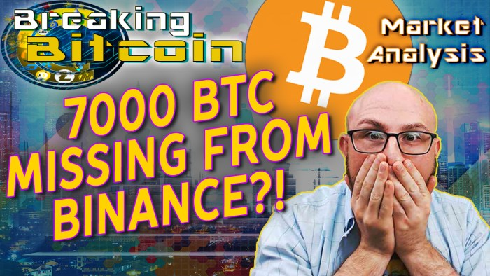 text 7000 btc missing from binance? next to justin shocked hands on mouth face with graphic background and bitcoin logo